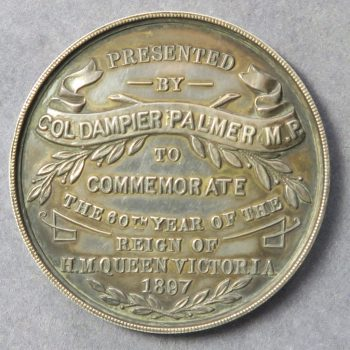 1897 Victoria Golden Jubilee silver medal given by Col. Dampier Palmer MP for Gravesend, Kent