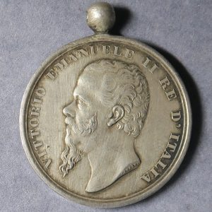 Italy Reunification 1860 Military Medal - Victor Emanuel II silver byD Canzani