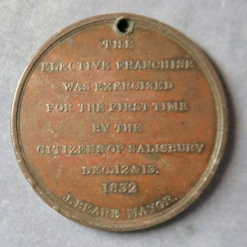 1832 Election medal bronze ticket Salisbury given by Hon D Pleydell Bouverie
