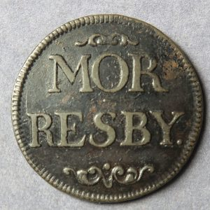 Morresby Colliery, MOR RESBY rev. arms AE 25mm. Finlay 31 Cumbria Mining Token